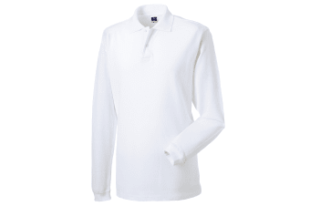 Russell Europe Mens Long Sleeve Classic Cotton Polo Shirt (White) (XL)