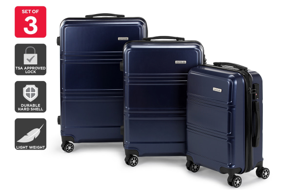 Orbis 3 Piece Kuredu Spinner Luggage Set (Midnight Blue)