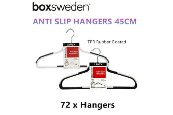 72 x Plastic TPR Coated Non Slip Hangers Rubber Grip Clothes Storage Thin Anti