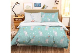 3D Cartoon Elephant Green Quilt Cover Set Bedding Set Pillowcases 108-Single
