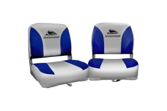 Seamanship Set of 2 Folding Swivel Boat Seats - Grey and Blue