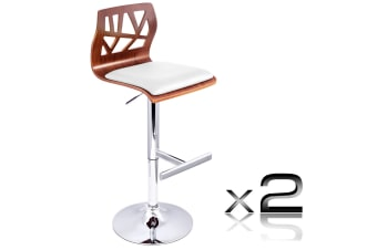 Set of 2 PU Leather Wooden Kitchen Bar Stool Padded Seat (White)