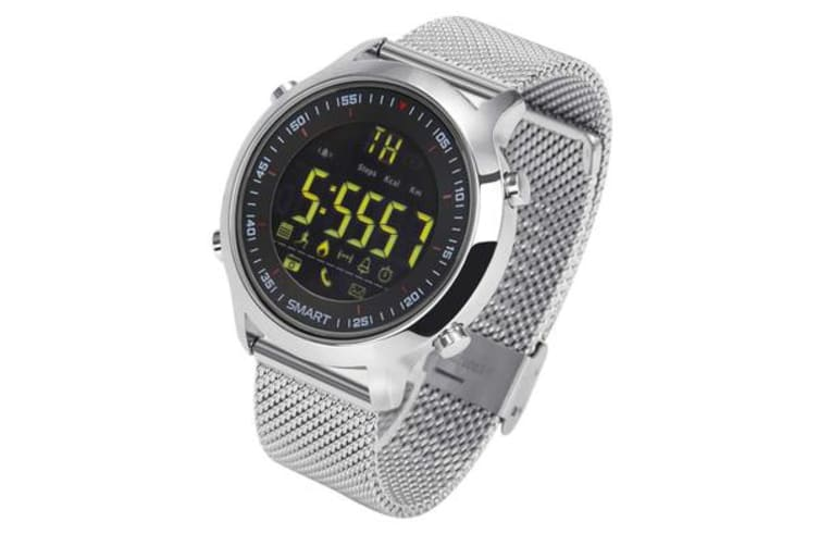TODO Bluetooth V4.0 Smart Watch 1.12 Fstn Lcd Rechargeable Ip67 Remote Camera - Silver