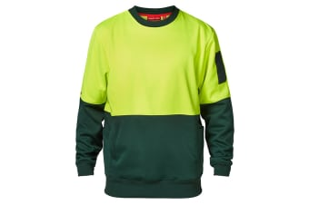 Hard Yakka Men's Hi-Vis Two Tone Brushed Fleece Crew Neck Jumper (Yellow/Green, Size XS)