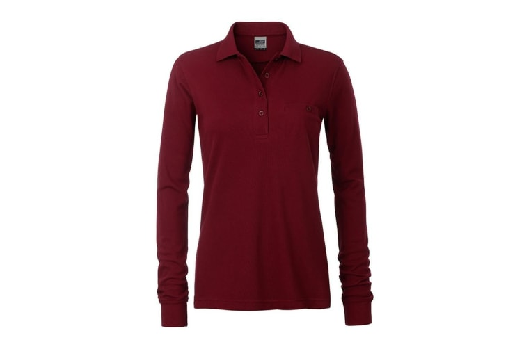 James and Nicholson Womens/Ladies Workwear Long Sleeve Pocket Polo (Red Wine) (XS)