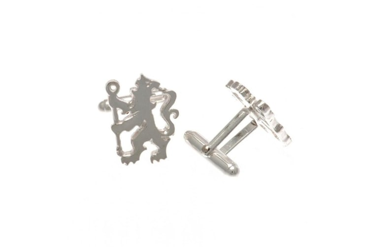 Chelsea FC Lion Sterling Silver Cufflinks (Silver) (One Size)