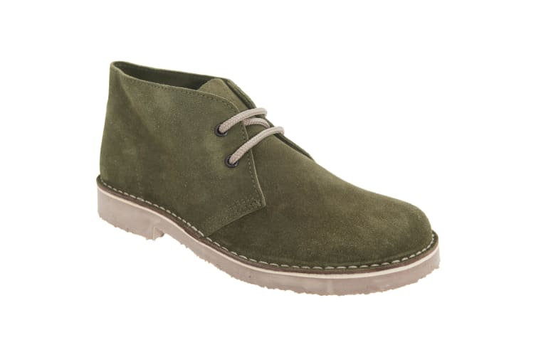 Roamers Womens/Ladies Real Suede Round Toe Unlined Desert Boots (Khaki) (4 UK)