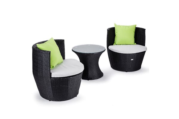 London Rattan Wicker 3 Piece Outdoor Furniture Set Table Chairs