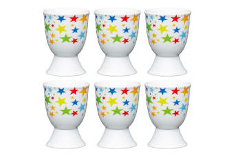 6pc KitchenCraft Bright Stars Boiled Egg Cup Holder Stand Tableware Servingware