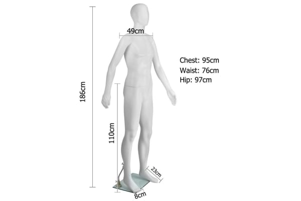 Full Body Male Mannequin Cloth Display Tailor Dressmaker (White) 186cm