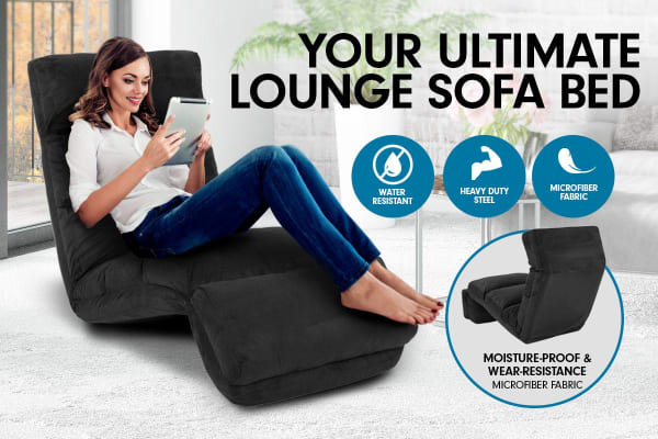 Adjustable Cushioned Floor Gaming Lounge Chair 175 x 56 x 20cm - Black