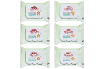 6x 30pc Heinz Baby Basics Sticky Fingers Kids Hand & Face Wipes Fragrance Free