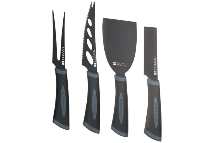 Scanpan Spectrum 4pc Cheese Knife Set Hard Crumbly Soft Stainless Steel Knives