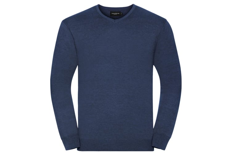 Russell Collection Mens V-Neck Knitted Pullover Sweatshirt (Denim Marl) (S)