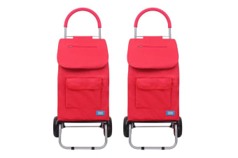2x White Magic 3 in 1 40L Shopping Hand Trolley Dolly Carry Bag Foldable Cart RD