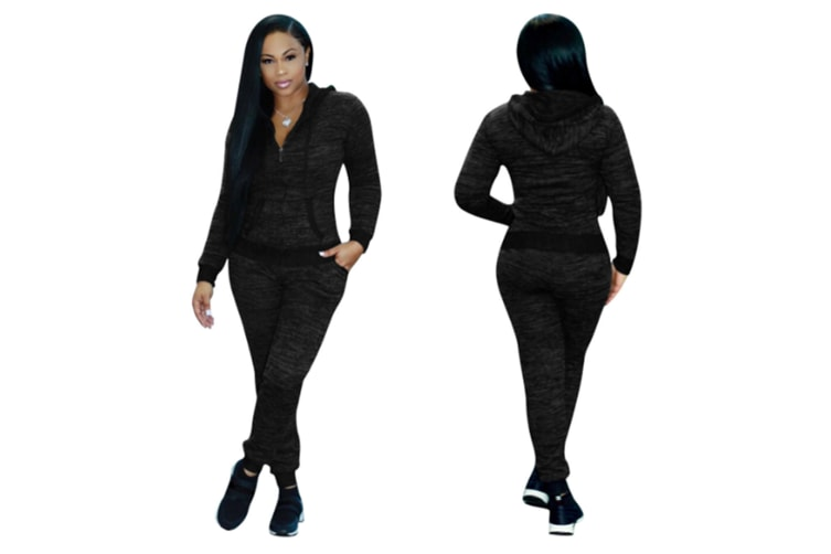 2 Piece Set Women Casual Pants Sets Sportswear Patchwork Long Sleeve Hooded Outfit Suit Black Xl