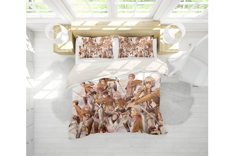 3D Anime Attack Giant Quilt Cover Set Bedding Set Pillowcases 78-King