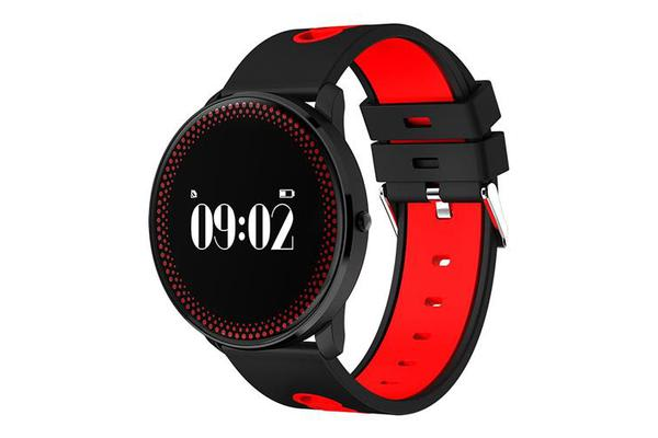 """Bluetooth V4.0 Smart Watch 0.96"""" Oled Heart Rate Blood Oxygen Red"""