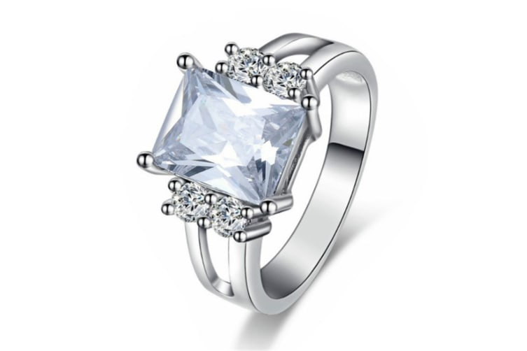 Silver Plated cubic zircon ring 7