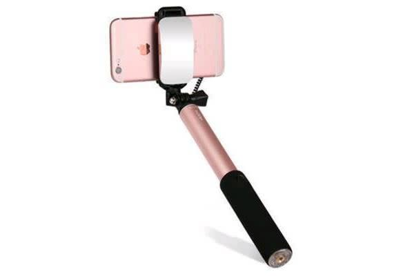 Rock Selfie Stick with Wire control & Mirror (Rose Gold)