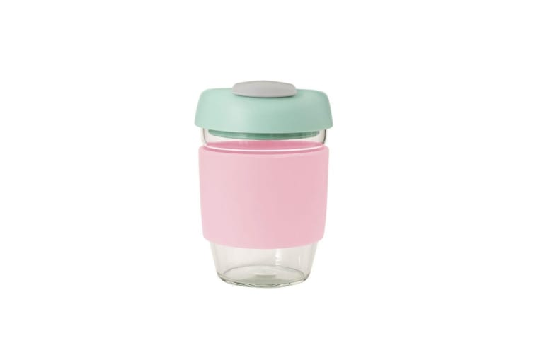 Avanti Glass Go Cup 355ml Pink Mint Grey
