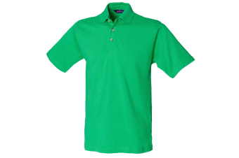 Henbury Mens Classic Plain Polo Shirt With Stand Up Collar (Bright Green) (L)