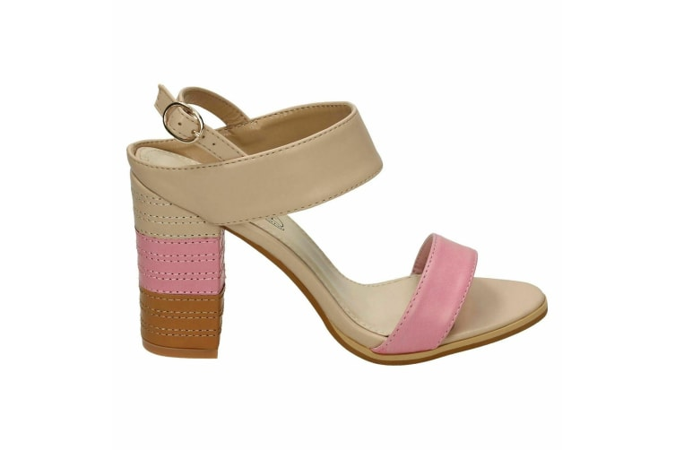 Spot On Womens/Ladies Stitched Buckle Ankle High Heels (Pink) (5 UK)