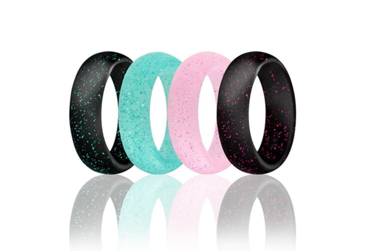 4 pcs Women Silicone Wedding Ring Bands Active Athletes Comfortable Fit Non-toxic Antibacterial 4