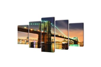 vidaXL Canvas Wall Print Set Brooklyn Bridge 200 x 100 cm