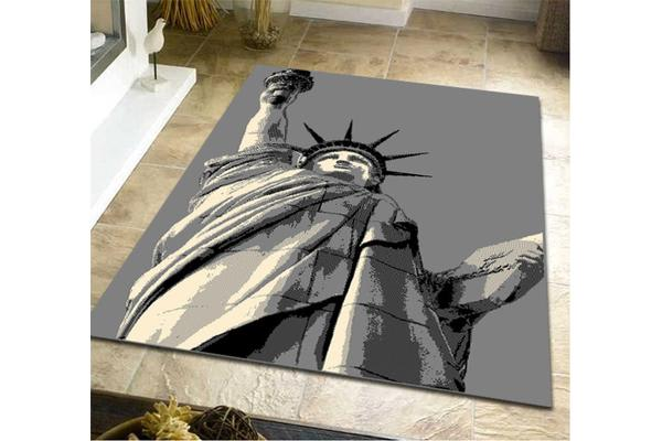 Statue of Liberty Pattern Rug Grey Black 230x160cm