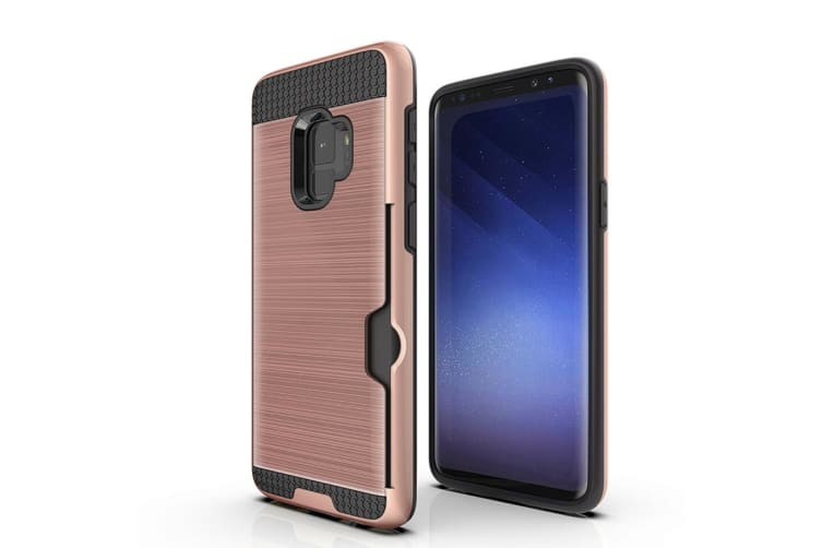 Rose Gold Brushed Armour Card Slot For Samsung Galaxy S9 Case