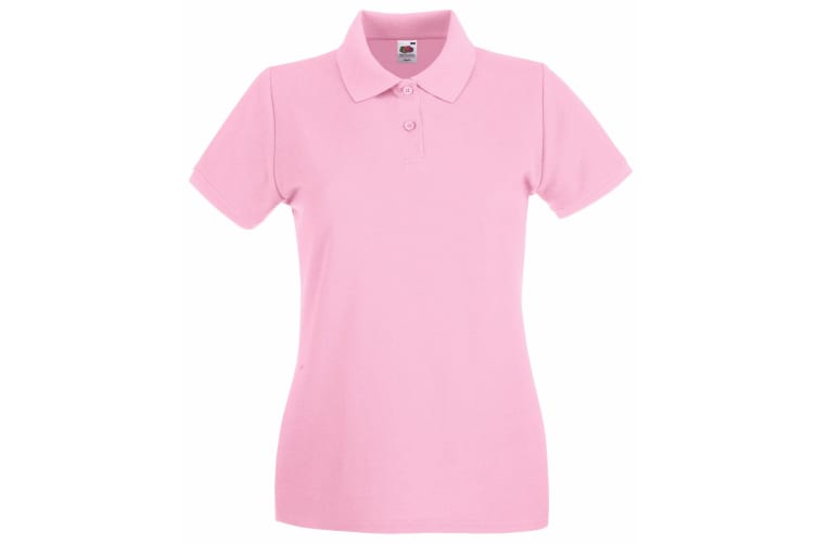 Fruit Of The Loom Ladies Lady-Fit Premium Short Sleeve Polo Shirt (Light Pink) (XS)
