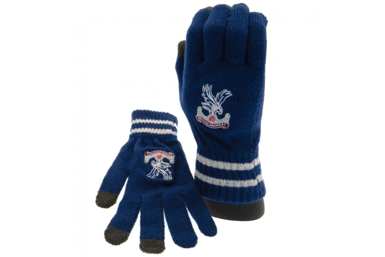 Crystal Palace FC Official Adults Unisex Touch Screen Knitted Gloves (Blue/White) (One Size)