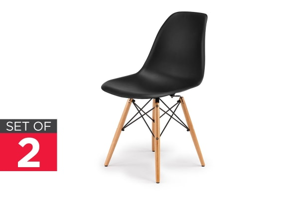 Ovela Set of 2 Eiffel DSW Dining Chairs - Eames Replica (Black)