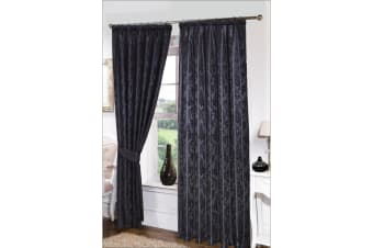 Seattle Ready Made Fully Lined Patterned Curtains (Black) (65 x 72 (166cm x 183cm))