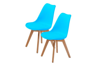 Replica Eames PU Padded Dining Chair - BLUE X2