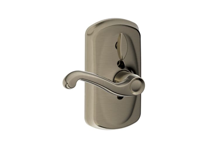 Schlage Keypad Lever with Plymouth Trim and Flair Lever with Flex Lock (Antique Pewter)