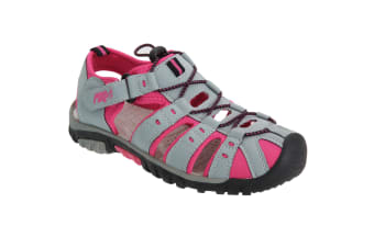 PDQ Womens/Ladies Toggle & Touch Fastening Sports Sandals (Grey/Fuchsia)