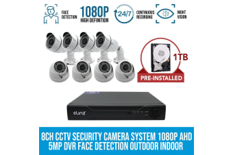 Elinz 8CH CCTV Security Camera DVR 1080P Face Detection 4x Bullet 4x Dome 1TB