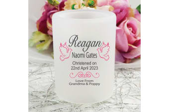 Personalised Christening Tea Light Candle Holder - Dove
