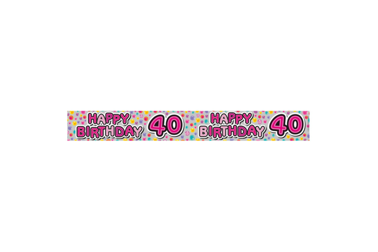 Expression Factory Womens/Ladies Happy 40th Birthday Foil Party Banner (Multicoloured) (One Size)