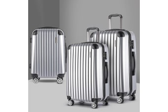 3pc Luggage Sets Suitcase Set TSA Scale Storage Organiser Silver