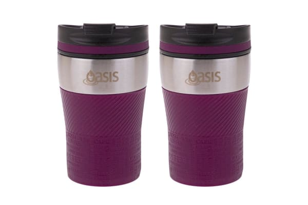 2PK Oasis 280ml Cafe Stainless Steel Insulated Travel Drinkware Cup Flask Plum