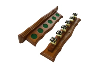 Curved Wall Cue Rack with 6 Brass Cue Clips Oak