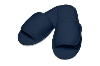Towel City Adults Unisex Open Toe Slippers (Navy)