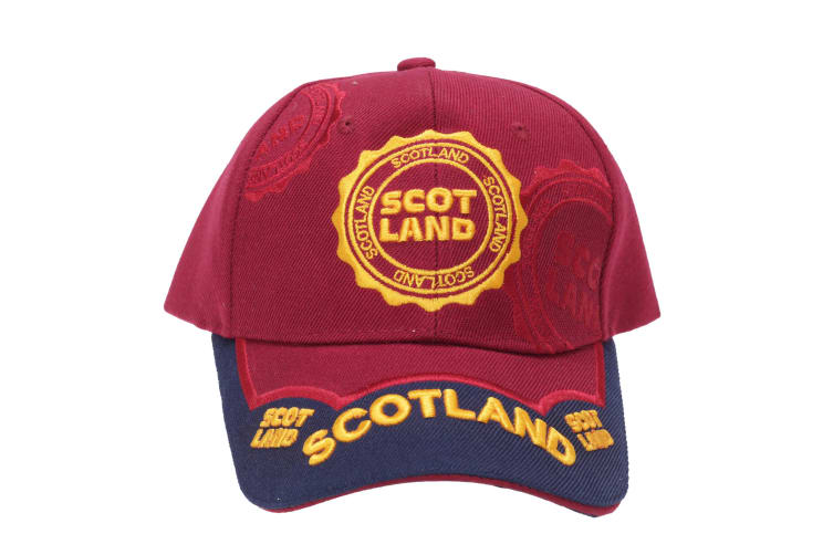 Scotland 6 Panel Unisex Adults Baseball Cap (Maroon) (One Size)