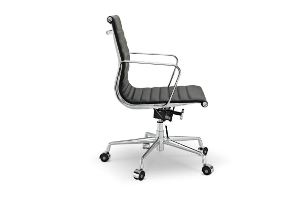 Ergolux Executive Eames Replica Low Back Ribbed Office Chair (Black)