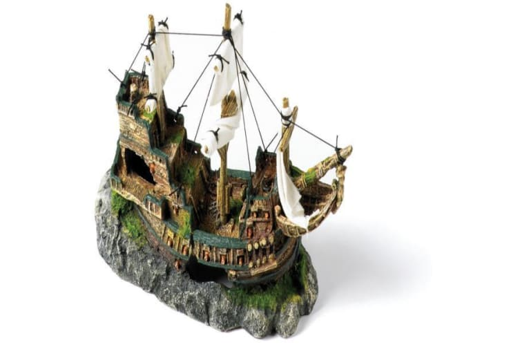 Classic Polyresin Galleon With Sails Fish Tank Ornament (Brown) (33cm)