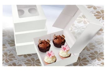4 Holes Cupcake Boxes 100 Pk Window Face With Inserts Cake Boxes Boards
