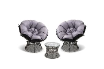 Garden Papasan Chair and Side Table Set- (Grey)